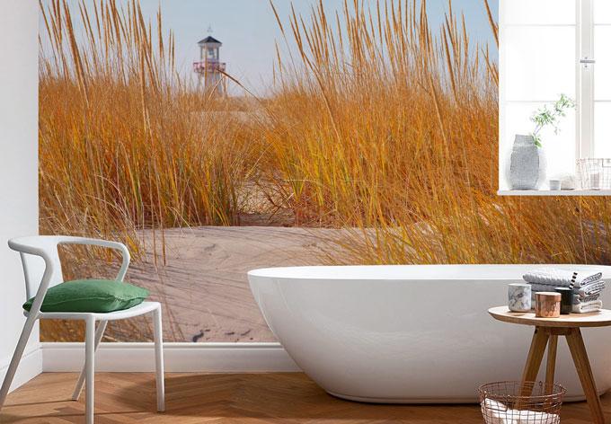 fototapete leuchtturm im strandfeld sch ne kulisse f r. Black Bedroom Furniture Sets. Home Design Ideas