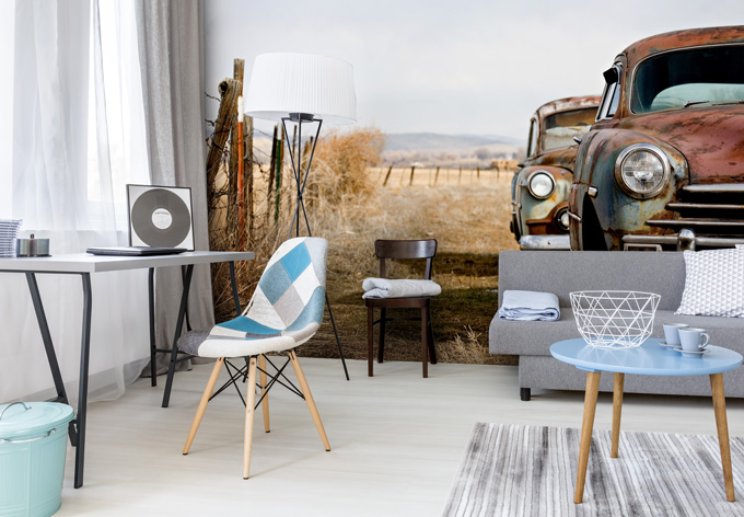 fototapete old rusted cars wall. Black Bedroom Furniture Sets. Home Design Ideas