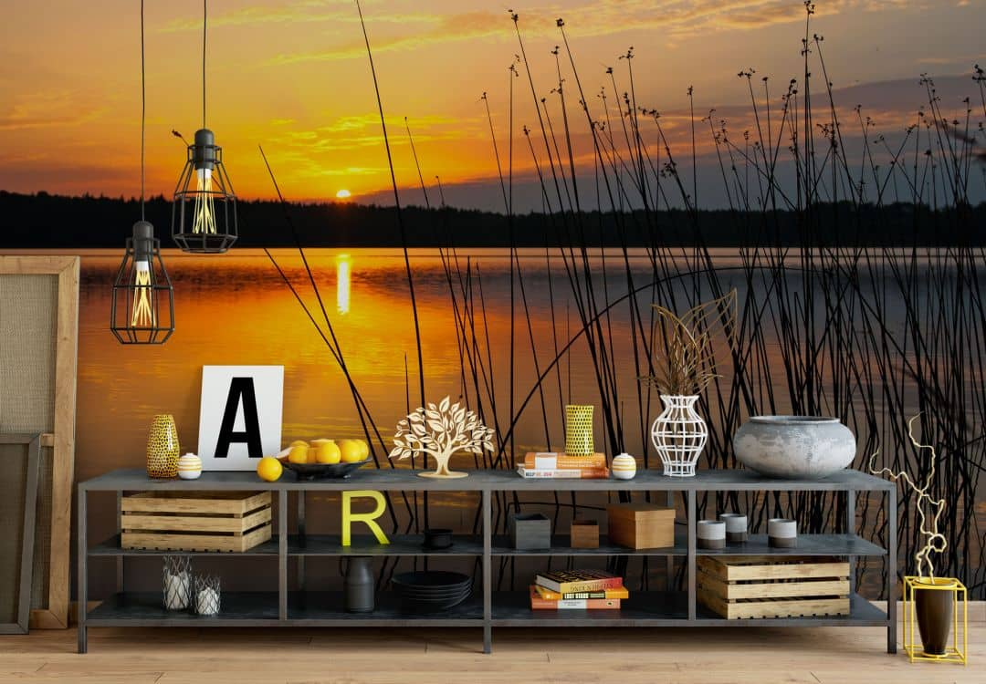 fototapete sonnenuntergang am see von k l wall art wall. Black Bedroom Furniture Sets. Home Design Ideas