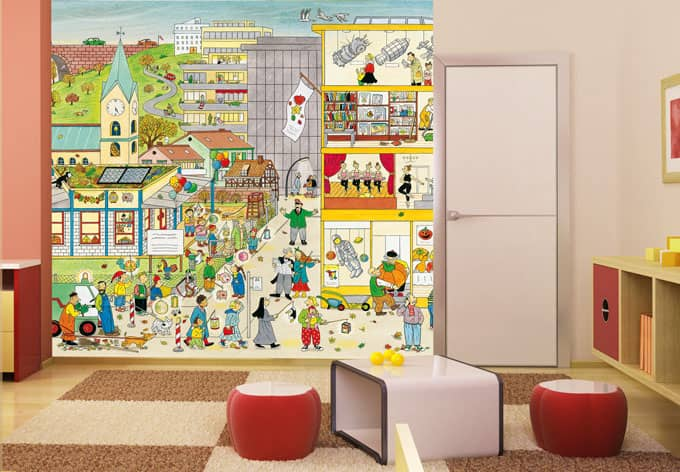fototapeter wimmel kindergarten im herbst wall. Black Bedroom Furniture Sets. Home Design Ideas