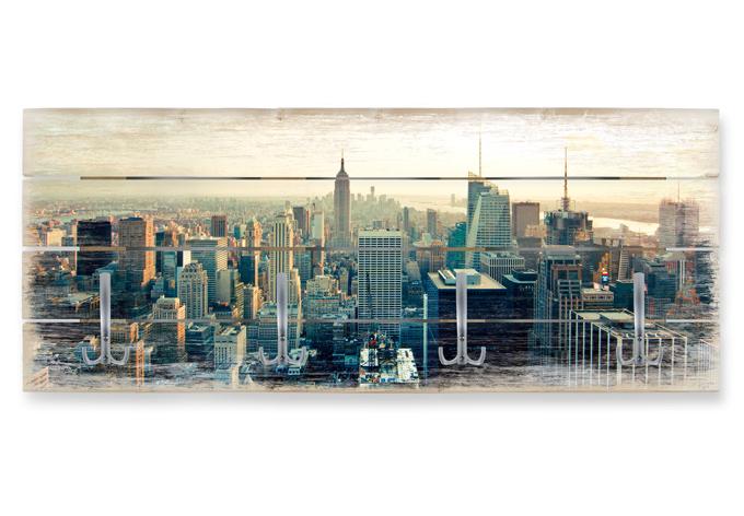 Holzgarderobe skyline von new york city panorama wall for Garderobe new york