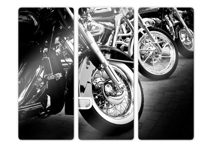 3 teiliges glasbild motorcycle wheels von k l wall art wall. Black Bedroom Furniture Sets. Home Design Ideas