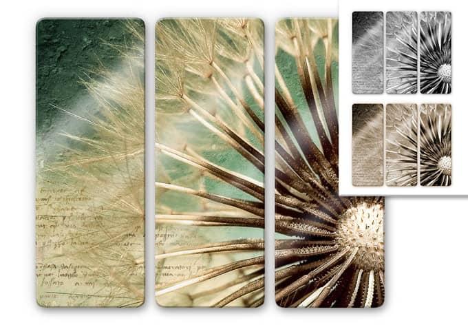 glasbild pusteblumen poesie 3 teilig beliebtes motiv auf elegantem glas wall. Black Bedroom Furniture Sets. Home Design Ideas