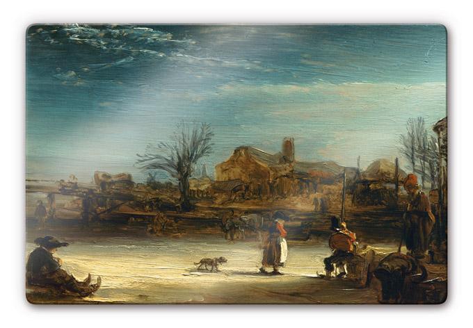 Kunstdruck rembrandt winterlandschaft auf glas als - Winterlandschaft dekoration ...