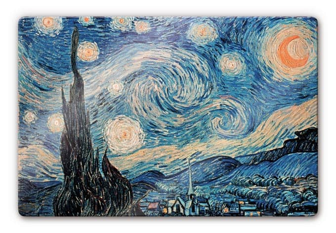 kunstdruck vincent van gogh sternennacht 1889 auf glas als dekoration wall. Black Bedroom Furniture Sets. Home Design Ideas