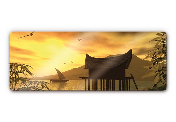 panorama glasbild steghaus paradiesische kullise f r ihr zuhause wall. Black Bedroom Furniture Sets. Home Design Ideas