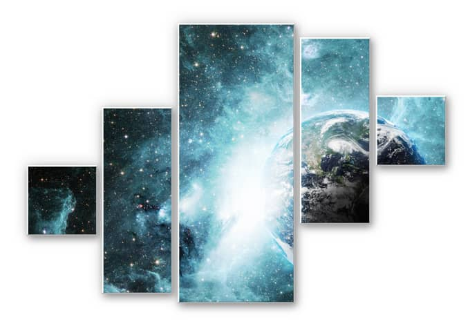 5 teiliges hartschaum wandbild set in einer fernen galaxie von k l wall art wall. Black Bedroom Furniture Sets. Home Design Ideas