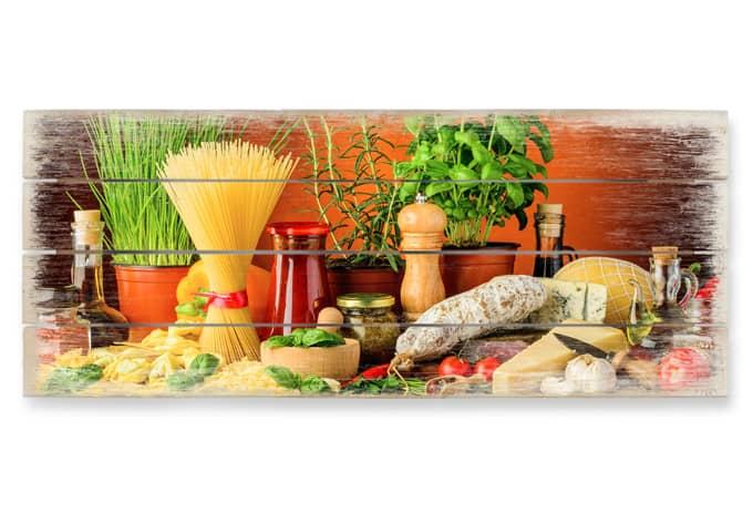 Panorama holzbild italienisch kochen wall for Kochen italienisch