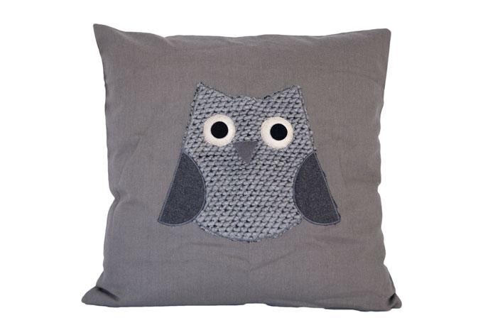 kissenh lle eule grau inklusive kissenf llung wall. Black Bedroom Furniture Sets. Home Design Ideas