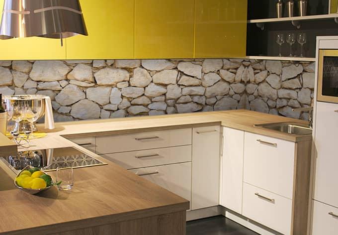 Rivestimento cucina - Alu-Dibond argentato - Muro 01  wall-art.it