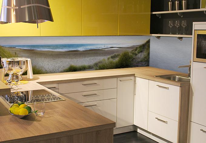 k chenr ckwand alu dibond silber strandpanorama wall. Black Bedroom Furniture Sets. Home Design Ideas