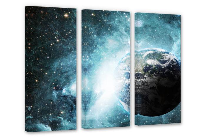 3 teiliges leinwand set in einer fernen galaxie von k l. Black Bedroom Furniture Sets. Home Design Ideas