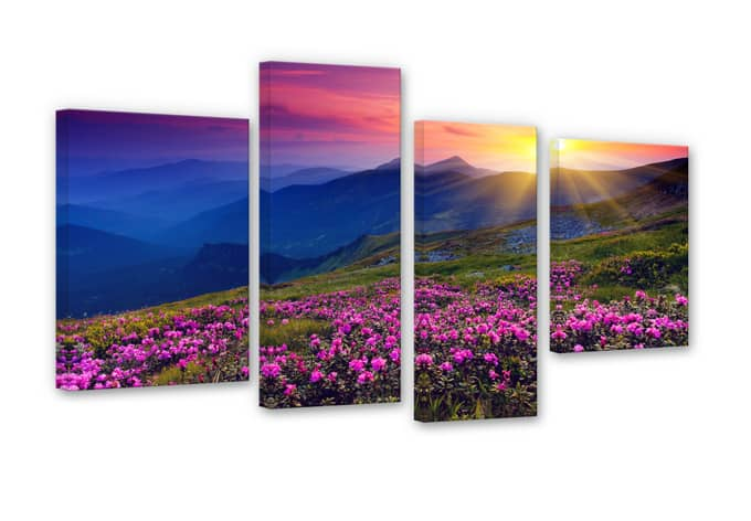 Sunset in the Mountains Canvas print (4 parts)