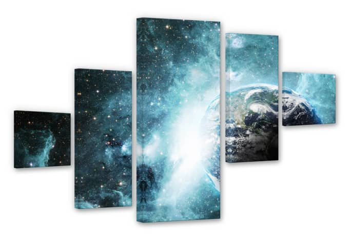 5 teiliges leinwand set in einer fernen galaxie von k l wall art wall. Black Bedroom Furniture Sets. Home Design Ideas
