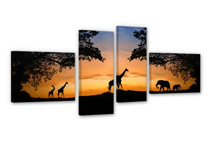 African Sunset Canvas print (4 parts)