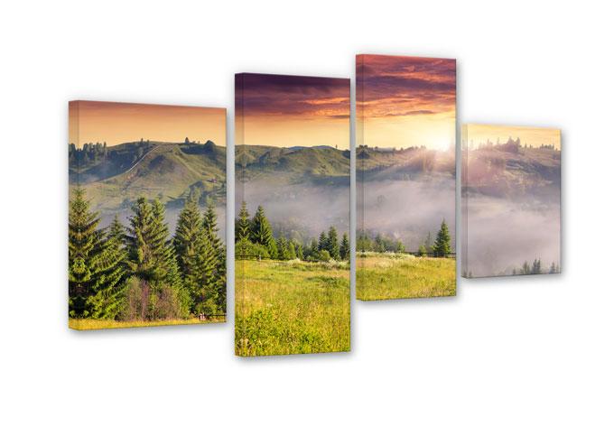Misty Valley (4-parts) Canvas print