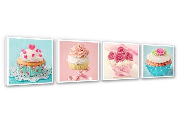 Cupcakes set (4 parts) Canvas print