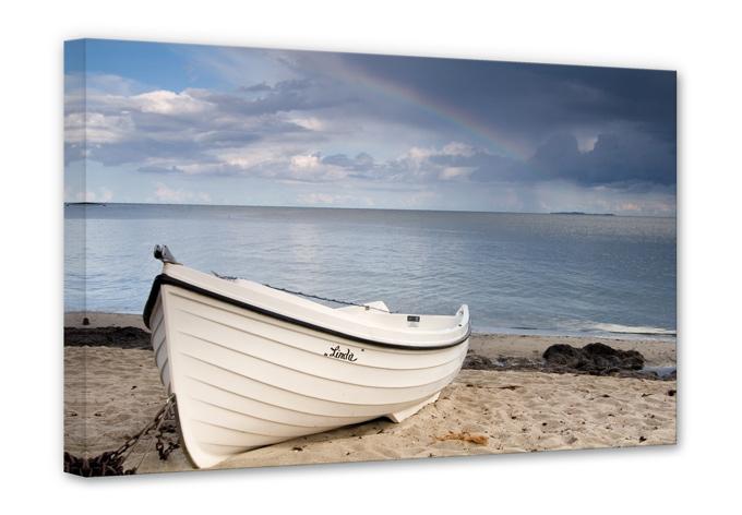 leinwanddruck strandidyll wandbild mit boot am strand wall. Black Bedroom Furniture Sets. Home Design Ideas
