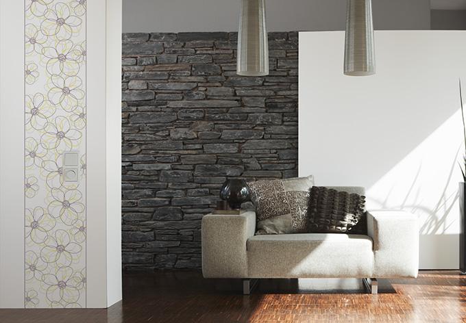 livingwalls dekopanel panel gelb grau wei wall. Black Bedroom Furniture Sets. Home Design Ideas