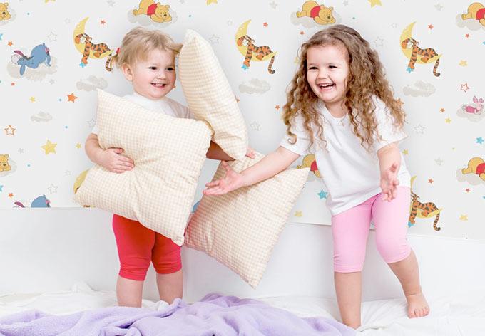 mustertapete paiertapete pooh rise shine papier wall. Black Bedroom Furniture Sets. Home Design Ideas