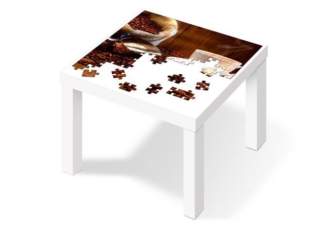 M belfolie f r ikea lack puzzle kaffeegenuss wall for Tisch klebefolie