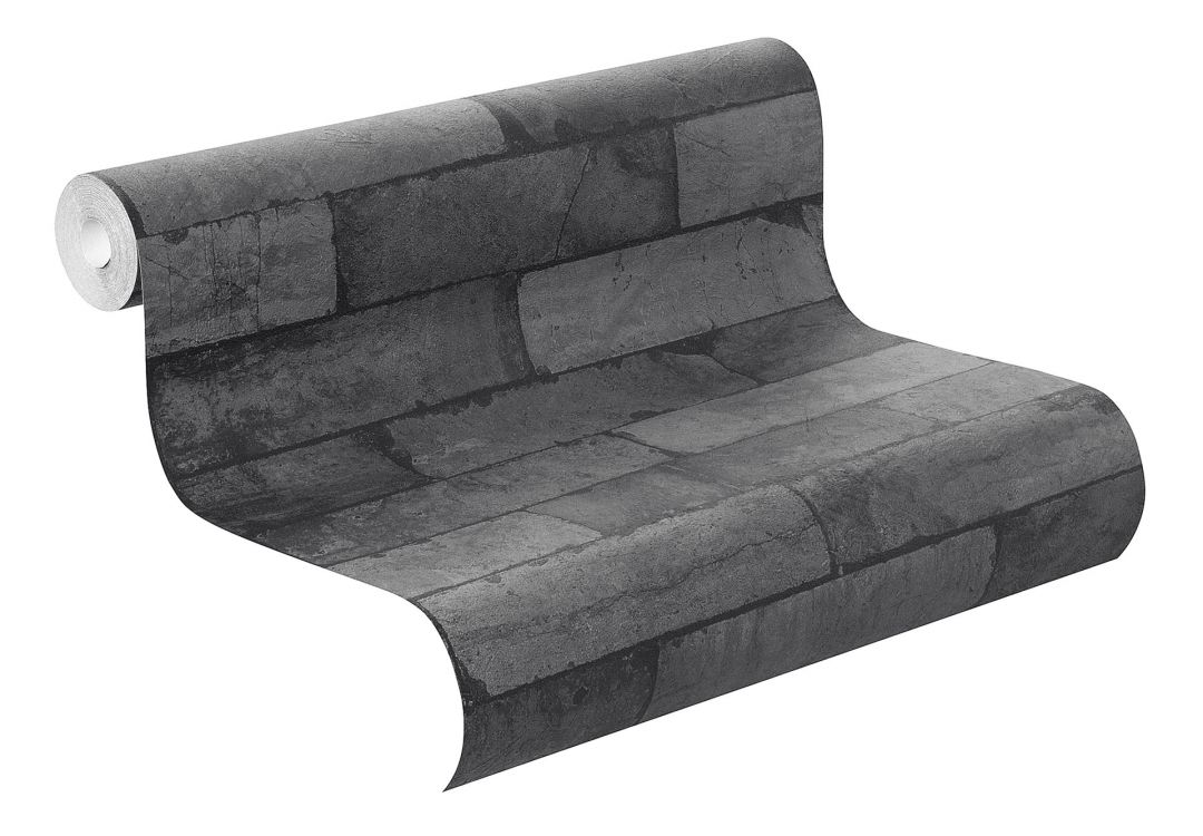 rasch vliestapete factory ii mauer 446340 schwarz wall. Black Bedroom Furniture Sets. Home Design Ideas