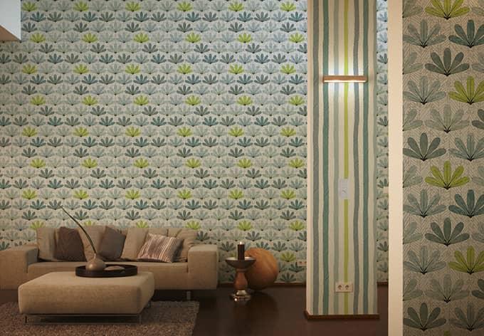 sch ner wohnen tapete signalwei gelbgr n pastellt rkis telegrau lichtgrau silberfarben. Black Bedroom Furniture Sets. Home Design Ideas