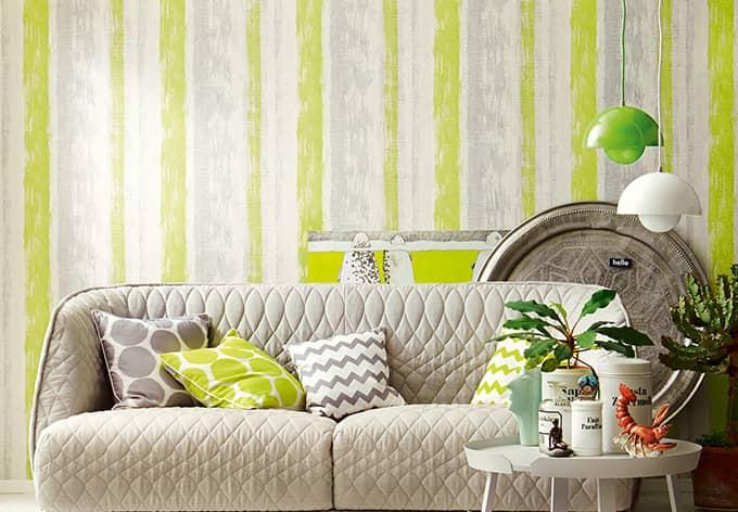 sch ner wohnen tapete gelbgr n telegrau signalwei. Black Bedroom Furniture Sets. Home Design Ideas
