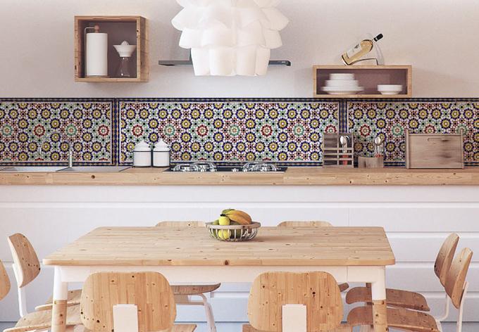 k chenr ckwand alu dibond orientalische kacheln 01 wall. Black Bedroom Furniture Sets. Home Design Ideas