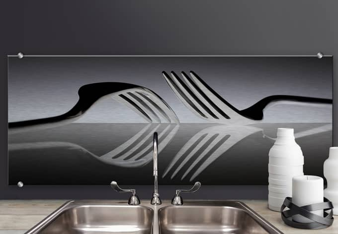 spatscherm alu dibond de kogel silverware wall. Black Bedroom Furniture Sets. Home Design Ideas