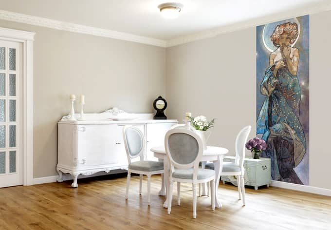 fototapete mucha stern der mond wall. Black Bedroom Furniture Sets. Home Design Ideas