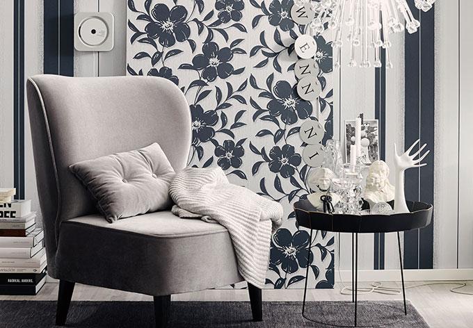 sch ner wohnen vliestapete graphitgrau telegrau wall. Black Bedroom Furniture Sets. Home Design Ideas