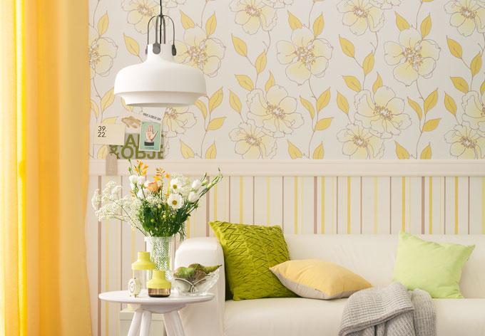 sch ner wohnen vliestapete braun gelb wei wall. Black Bedroom Furniture Sets. Home Design Ideas