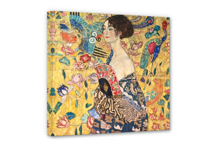 kunstdruck gustav klimt dame mit f cher auf leinwand als dekoration wall. Black Bedroom Furniture Sets. Home Design Ideas