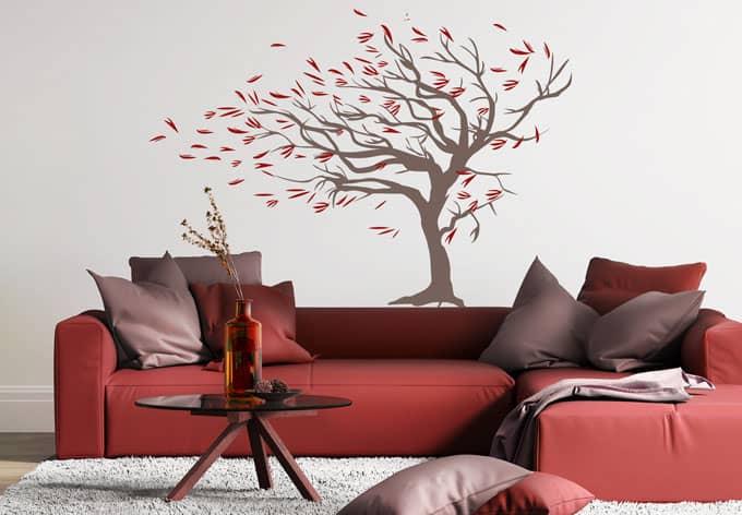 wandtattoo baum im wind herbstdeko mit baum wall. Black Bedroom Furniture Sets. Home Design Ideas