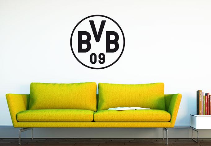 Wandtattoo bvb logo in schwarz wall - Wandtattoo dortmund ...
