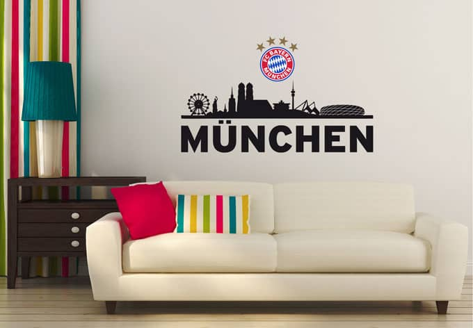 wandtattoo fc bayern skyline m nchen mit logo farbig. Black Bedroom Furniture Sets. Home Design Ideas