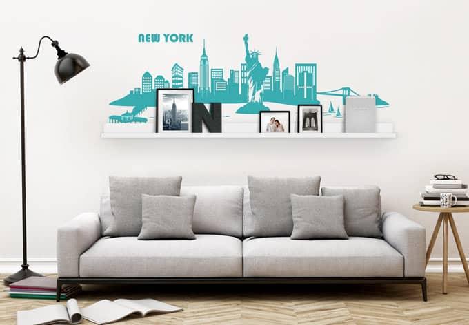 wandtattoo new york skyline inkl bilderleiste wall. Black Bedroom Furniture Sets. Home Design Ideas