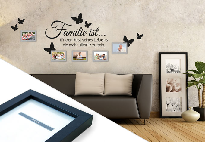 wandtattoo familie ist inkl 5 bilderrahmen wall. Black Bedroom Furniture Sets. Home Design Ideas