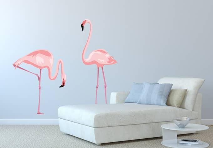 Wandtattoo farbenpr chtiges flamingo p rchen wall - Flamingo wandtattoo ...