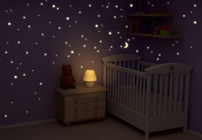 leuchtsterne sternenhimmel 100 250 stk leuchtende sterne wall. Black Bedroom Furniture Sets. Home Design Ideas