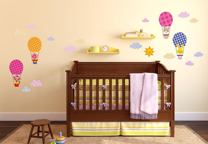 wandtattoo muster lustige tiere im hei luftballon set wall. Black Bedroom Furniture Sets. Home Design Ideas