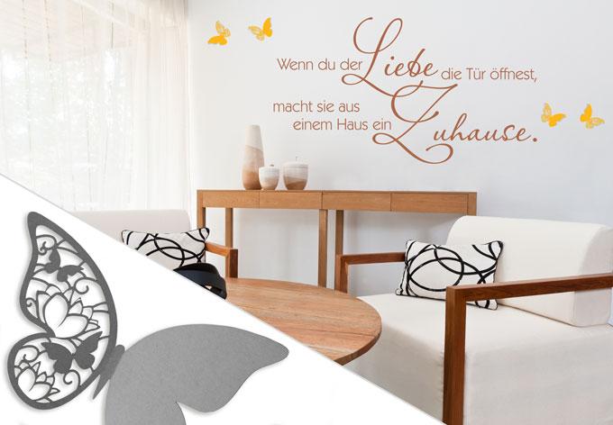 wandtattoo wenn du der liebe 3d deko schmetterlinge 2 mit tesa tack 4 teilig wall. Black Bedroom Furniture Sets. Home Design Ideas
