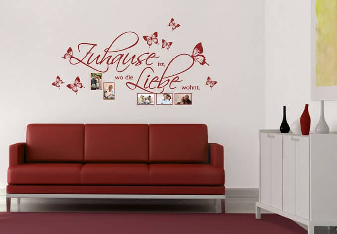 wandtattoo zuhause ist mit platz f r fotos wall. Black Bedroom Furniture Sets. Home Design Ideas