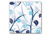 Glasbilder - Glasbild Blumengarten blau
