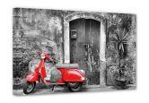Leinwandbilder - Leinwandbild Red Scooter schwarz-weiß