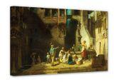 Leinwandbilder - Leinwandbild Spitzweg - Wäscherinnen am Brunnen