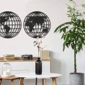 MDF Decoratie Twee Globes