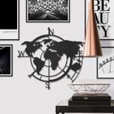 MDF Decoratie Wereldkaart Windrichtingen