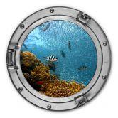 Alu-Dibond 3D Optik - Bunte Unterwasserwelt - gelbe Korallen - Rund